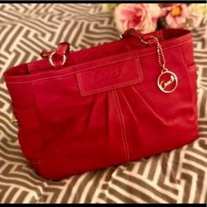 Red leather Coach purse east west gallery tote